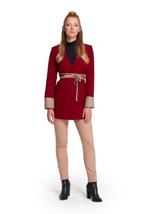 Red - Unlined - Shawl Collar - Viscose - Jacket