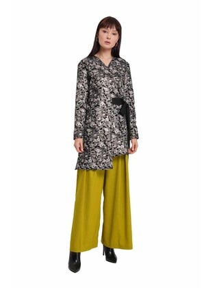 White - Black - Multi - Unlined - V neck Collar -  - Abaya