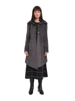 Gray - Unlined - Point Collar - Viscose - Trench Coat