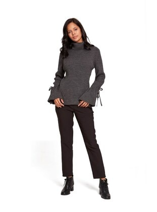 Anthracite - Polo neck - Acrylic - - Knit Sweaters