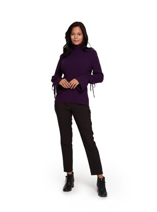 Purple - Polo neck - Acrylic -  - Knit Sweaters