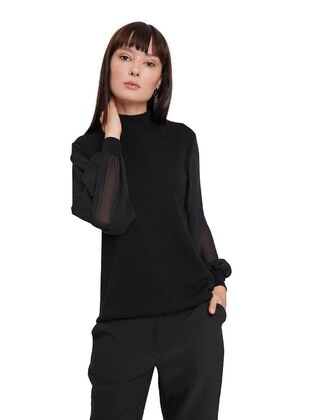 Black - Unlined - Polo neck - Acrylic - - Knit Sweaters