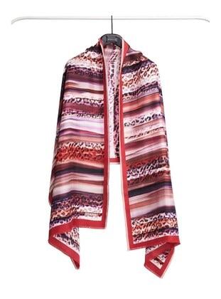 Red - Leopard - %100 Silk - Shawl