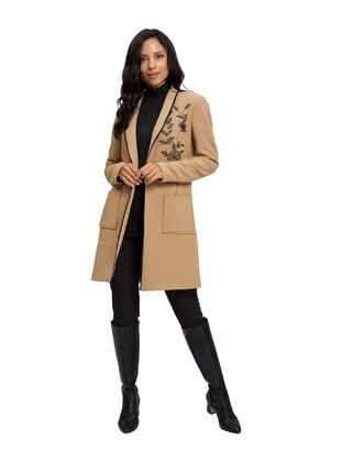 Beige - Fully Lined - Shawl Collar -  - Jacket