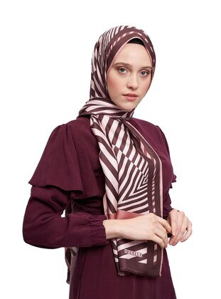 Silk Blend - Brown - Printed - Shawl Wrap