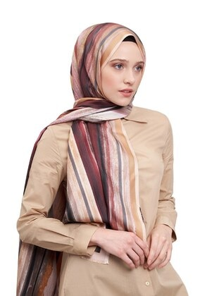 Cream - Striped - Printed - Silk Blend - Shawl
