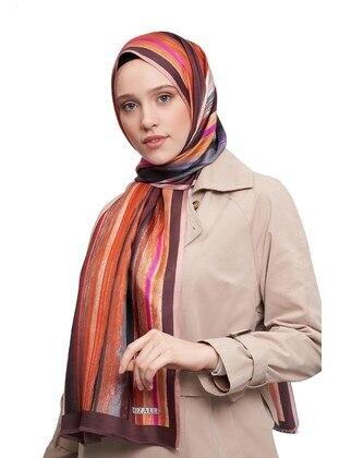Silk Blend - Orange - Printed - Shawl Wrap