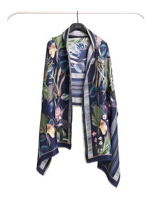 Silk Blend - Green - Printed - Shawl Wrap