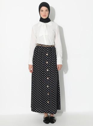 White - Black - Polka Dot - Unlined - Viscose - Skirt