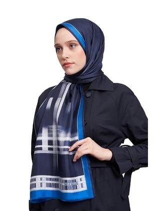 Blue - Striped - Silk Blend - Shawl