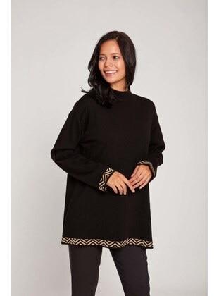 Black - Polo neck - Acrylic - - Knit Sweaters - MIZALLE