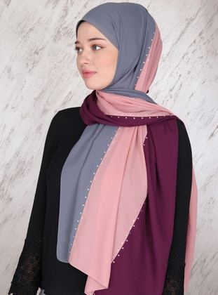 Gray - Purple - Powder - Plain - Shawl