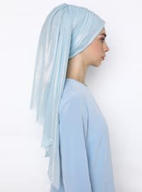 Blue - Plain -  Metal Thread - Instant Scarf