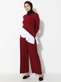 Maroon - Viscose - Pants