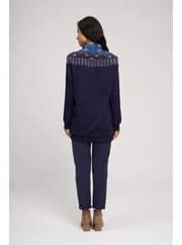 Viscose - Crew neck - Navy Blue - Sweat-shirt
