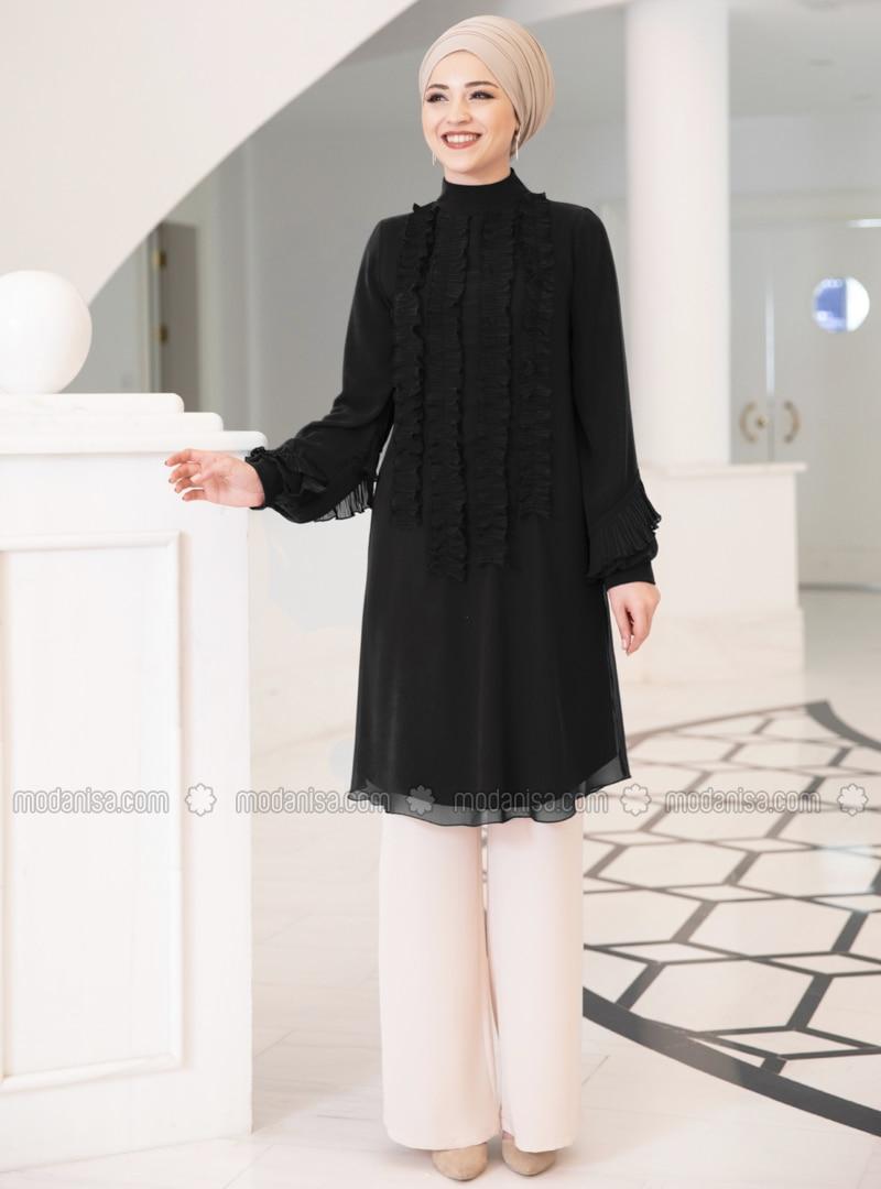 Black - Polo neck - Chiffon - Tunic