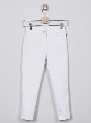 - Unlined - White - Girls` Pants - Panço