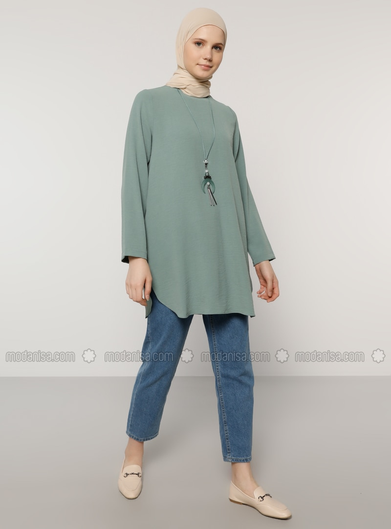 Green Almond - Green - Crew neck - Tunic