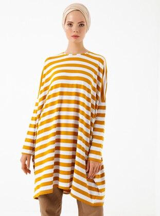 Mustard - Stripe - Crew neck - Viscose - Tunic