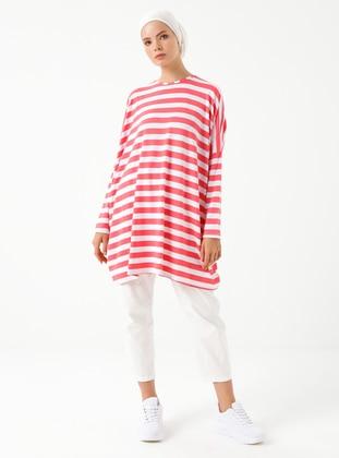Red - Stripe - Crew neck - Viscose - Tunic