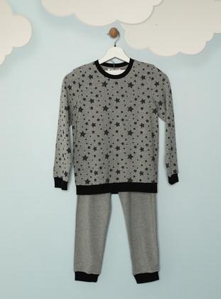 Multi - Crew neck - - Gray - Boys` Pyjamas