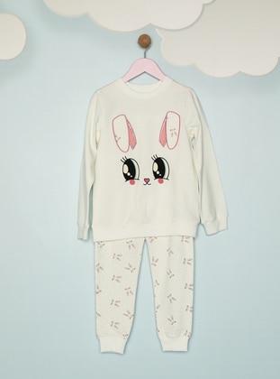 Multi - Crew neck - - White - Ecru - Girls` Pyjamas