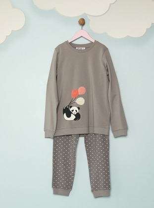 Multi - Crew neck -  - Gray - Girls` Pyjamas - Pikidor