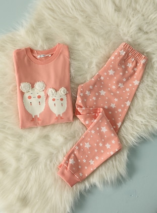 Multi - Crew neck -  - Salmon - Girls` Pyjamas - Pikidor