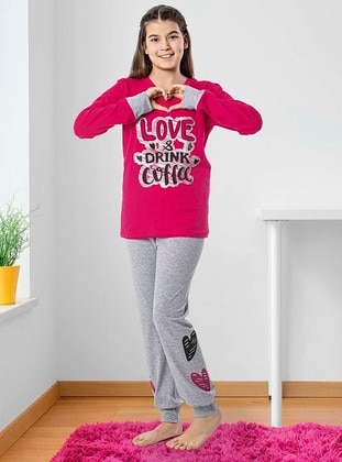Crew neck -  - Unlined - Fuchsia - Gray - Girls` Pyjamas - Larice Kids