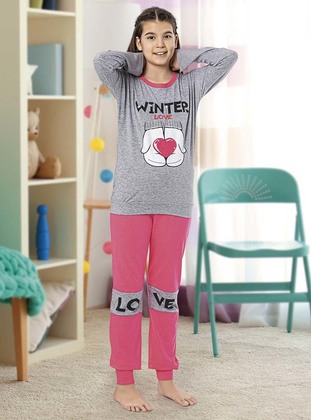 Crew neck -  - Unlined - Gray - Rose - Girls` Pyjamas - Larice Kids
