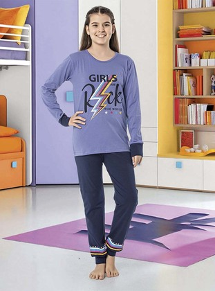 Crew neck -  - Unlined - Navy Blue - Purple - Girls` Pyjamas
