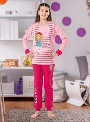 Crew neck -  - Unlined - Fuchsia - Pink - Girls` Pyjamas - Larice Kids