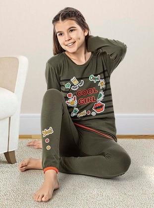 Crew neck -  - Unlined - Green - Girls` Pyjamas - Larice Kids