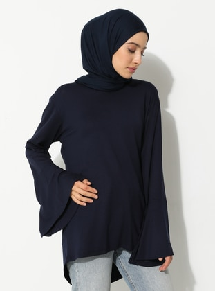 Navy Blue - V neck Collar - Viscose - Tunic