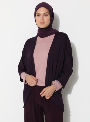 Purple - Viscose - Cardigan