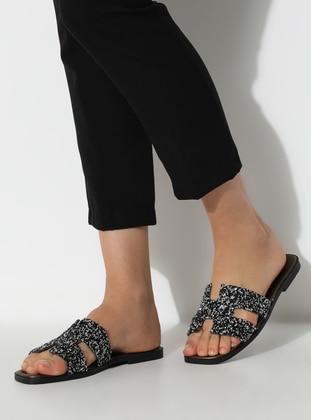 Silver tone - Black - Sandal - Slippers