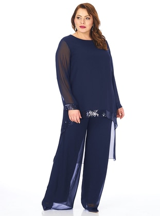 Fully Lined - Navy Blue - Crew neck - Evening Suit