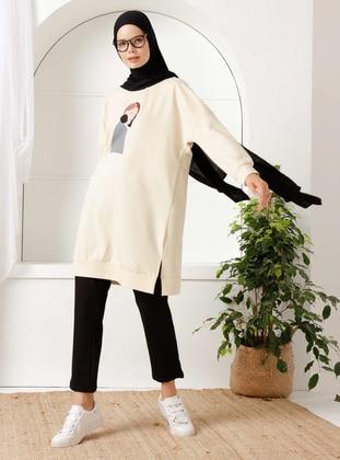 Beige - Printed - - Suit