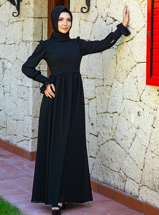 Black - Fully Lined - Crew neck - - Muslim Evening Dress