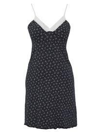 Navy Blue - Multi - V neck Collar - - Nightdress