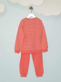 Multi - Crew neck -  - Orange - Girls` Pyjamas