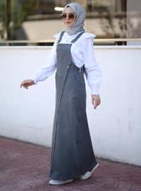 Unlined - Denim - - Gray - Skirt Overalls