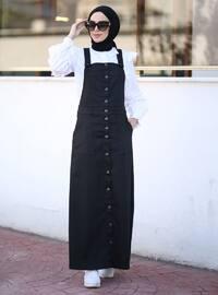 Unlined - Denim - - Black - Skirt Overalls