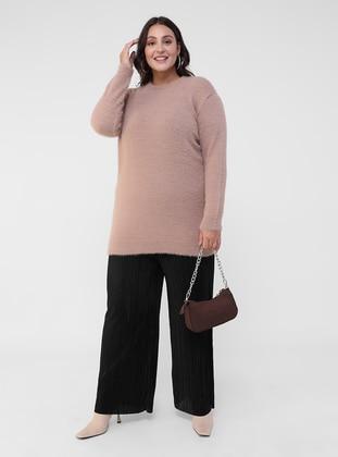 Dusty Rose - Salmon - Acrylic - - Crew neck - Plus Size Knit Tunics