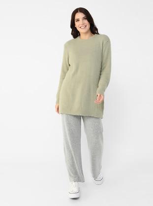 Sea-green - Green - Acrylic - - Crew neck - Plus Size Knit Tunics