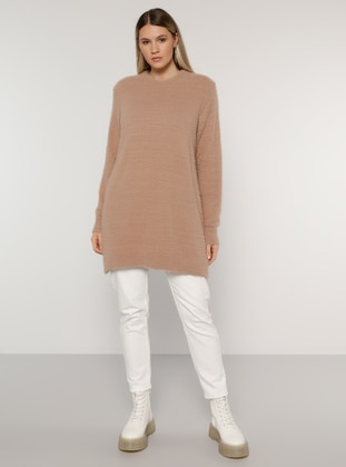 Dusty Rose - Salmon - Acrylic - - Crew neck - Plus Size Knit Tunics