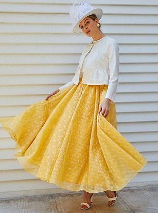 Yellow - Multi - Fully Lined - Skirt