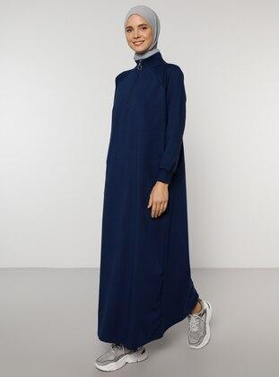 Navy Blue - Polo neck -  - Dress