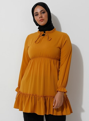 Mustard - Crew neck - Viscose - Plus Size Tunic