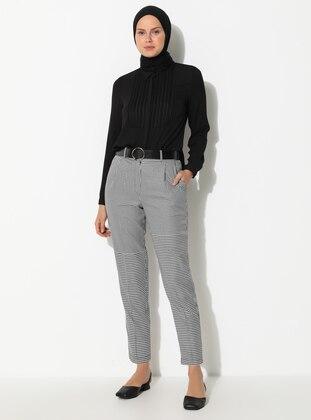 Black - Gingham -  - Viscose - Pants